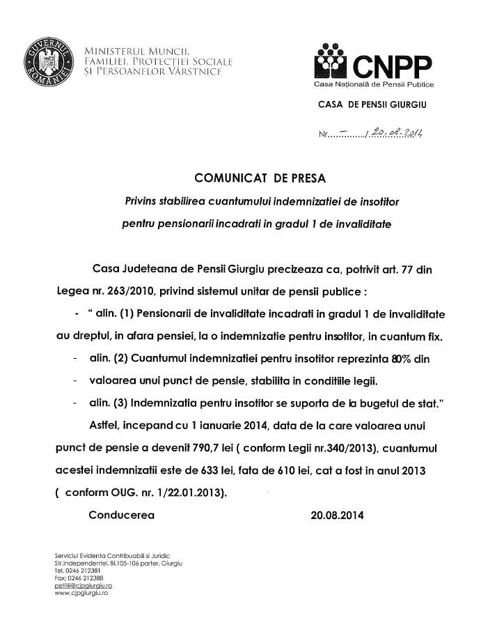 COMUNICAT DE PRESA - Privind stabilirea cuantumului indemnizatiei de insotitor pentru pensionarii incadrati in gradul 1 de invaliditate